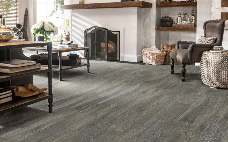 Family room with hardwood-look coastal-inspired flooring