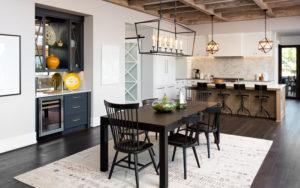 Farmhouse-inspired kitchen with hardwood floors